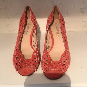 Melon suede lace heels aquatalia size 9